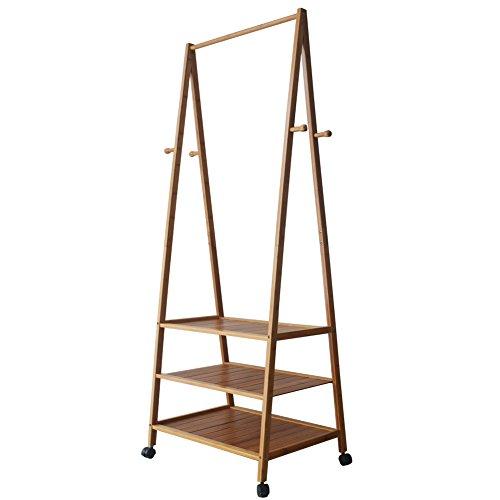 Feibrand Bamboe kledingrek garderobestandaard houten kledingstang garderobestandaard schoenenrek met wieltjes 3 planken 4 haken 182 x 80 x 45 centimeter