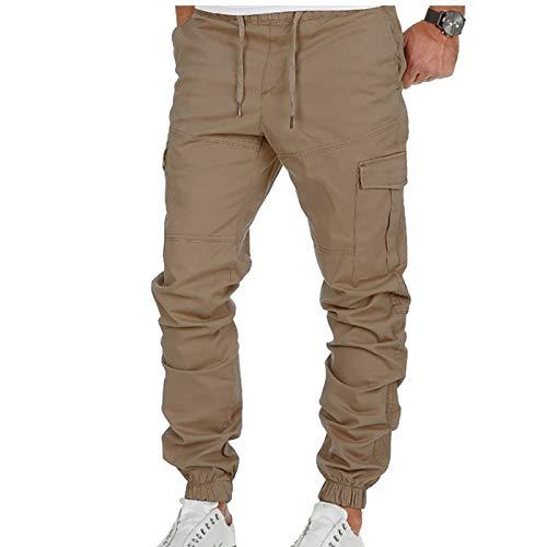 VRTUR Herren Jogginghose Sporthose Fitness Slim Fit Hose Freizeithose Joggers Streetwear Elegant JoggeHose Jersey-Hose Overalls Mit Taschen Männer (Khaki, XL)