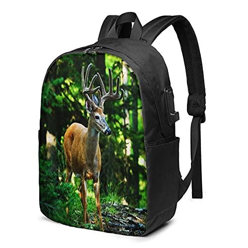 Laptop Backpack with USB Port Animal Deer Deer Antlers Standing, Business Travel Bag, College School Computer Rucksack Bag for Men Women 17 Inch Laptop Notebook