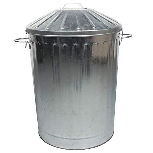 JiangKui Cubo de Basura Prevención de Incendios Retro Patrón Romano Cocina Exterior Ropa Sucia Cesta de Almacenamiento Acero Galvanizado 7 TamañoPlata, Los 48,5x70cm