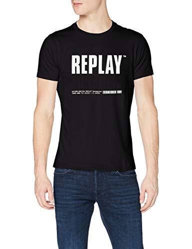 REPLAY M3413 Camiseta, 098 Negro, S para Hombre