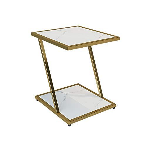 YNN Tisch Nachttisch Akzent Tisch Beistelltisch mit Marmorplatte Telefontisch Snack Tisch Gold Schlafzimmer Balkon 15,7 '' X 17,7 '' X 21,6 '' (Color : White)