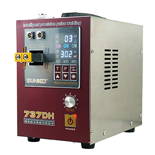 SUNKKO 737DH Battery Spot Welder, Pulse Welding Machine for 18650 14500 Lithium Batteries Battery Pack Work With Nickel Strips 0.35mm Intelligent Time Delay Function,110V