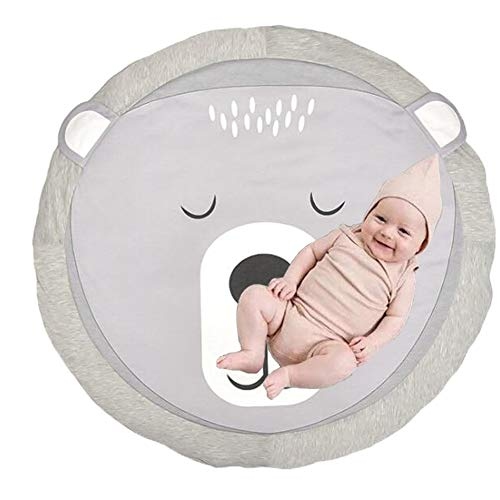 Estera de Arrastre para Bebé,Bebé Alfombra Redonda Crawl Mat,Alfombrillas para bebé Unisex,Alfombrilla de Juego para Bebés,Alfombra para Bebé de Dibujos Animados. (Oso)