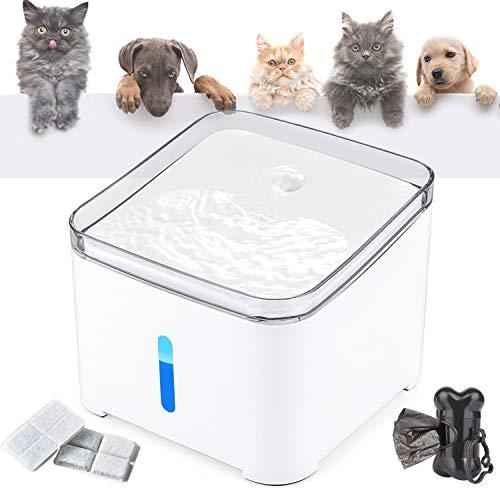 Makife Katzen Trinkbrunnen, 2L Wasserspender für Hunde mit LED-Licht automatischer Haustier Wasserbrunnen mit Sichtbarer Wasserstand automatische Abschaltpumpe 2 Karbonfilter 15pcs Hundekotbeutel