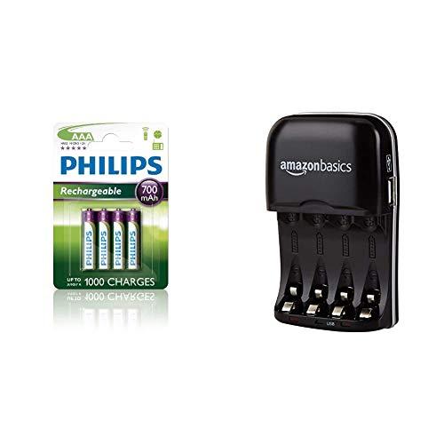 Philips R03B4A70/10 - Pack de 4 Pilas Recargables (NiMh, AAA) + Amazon Basics - Cargador de Pilas de Ni-MH AA y AAA con Puerto USB
