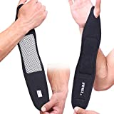 2 Packs Self-heating Magnetic Wrist Support Brace Adjustable Protect Wrap for Working Cycling Running Sports for Men and Women,One Size (Black)
