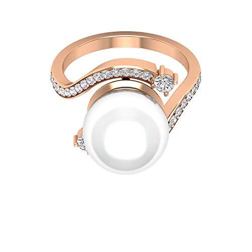 Anello di fidanzamento solitario da 11,48 ct con perla certificata, anello di fidanzamento, con pietra bianca anticata, fedi nuziali intrecciate, incredibile promessa, 14K Oro rosa, Size:EU 58