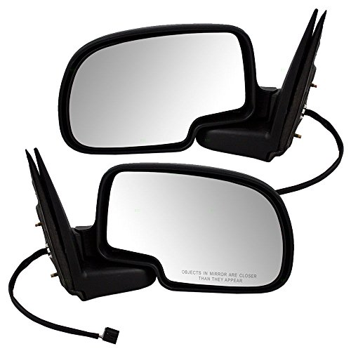 Aftermarket Replacement Driver and Passenger Pair Power Side View Mirrors Black and Chrome Compatible with 99-02 Silverado Sierra Pickup Truck