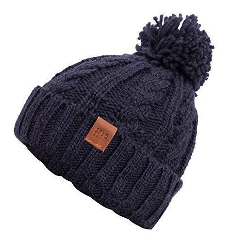 Rough Knit Beanie - Wintermütze, Strickmütze, Bommelmütze mit Leder Patch, Mütze...