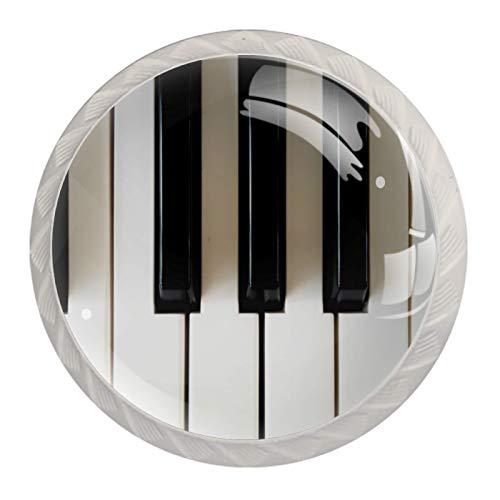 (4 piezas) pomos de armario de cristal de cristal, tiradores de cajón de pulgadas, tiradores de cajones para armarios de cocina, armarios, estanterías, cajoneras, llaves de piano, color negro y blanco