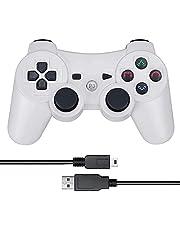 PS3 コントローラー ワイヤレスコントローラ 無線 ゲームパッド PS3 ハンドル Bluetooth ワイヤレス ゲームパッド Bluetooth ゲームパッド 6軸センサー 人間工学 PlayStation 3コントローラー 振動機能 充電式 USB Bluetooth 交換品 【1年安心保障付き】 (ホワイト)