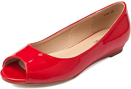 DREAM PAIRS Dories Peep Toe Ballerine Donna Rosso Pat 42 EU / 11 US