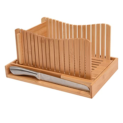 WORTHYEAH Bamboo Bread Slicer with Knife, Fold-able Wooden Bread Slicer with 3 Slicer Sizes, Adjustable Bread Slicing Guide for Homemade Bread, Cakes,...