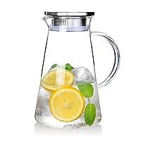 susteas 2,0 litri brocca di vetro con coperchio ghiacciato brocca di tè brocca di acqua calda fredda acqua ghiaccio tè vino caffè latte e succo bevanda caraffa