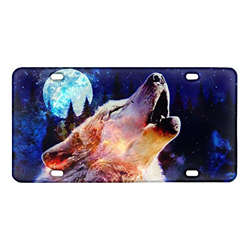 HUGS IDEA Wolf Fashion Animal Design Galaxy Wolves 6x12 inch Rear Car Decoration License Plate Stainless Decor for Man Gift