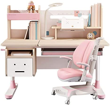 Wood Adjustable Height Kids Study Desk with Chair Drafting Table Computer Station Built in Bookshelf product image