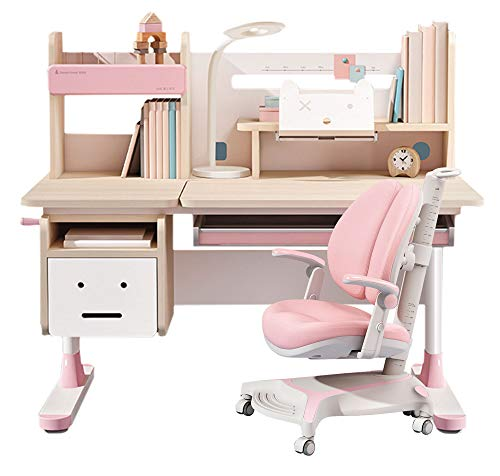 FCD Wood Adjustable Height Kids Study Desk with Chair Drafting Table Computer Station Built-in Bookshelf Hutch Multi Function (Pink, Wood of Fir)