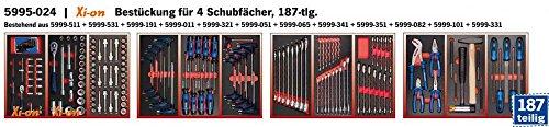 Bestückung für Werkzeugwagen Werkstattwagen 4 Schubladen 187 tlg