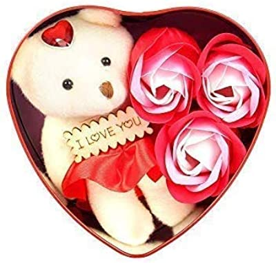 Quality bit Heart-Shaped Box with Teddy and Roses