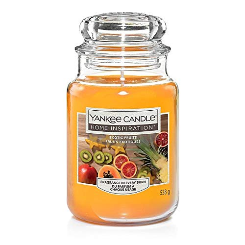 Yankee Candle Exotic Fruits - Mango, orange and pineapple softened with musk. Tropical summer scent - Large