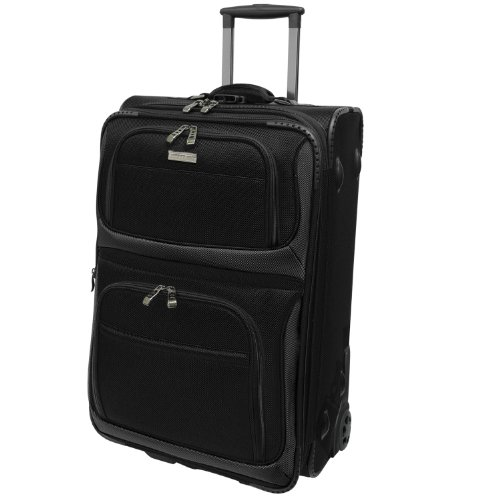 Traveler's Choice Conventional II Expandable Rugged Rollaboard Luggage, Black, Carry-on 21-Inch