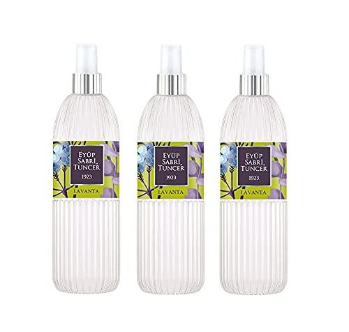 Eyüp Sabri Tuncer Agua de colonia de lavanda, 150 ml, spray de agua perfumada, aroma a lavanda, EDC, Eau de Cologne Spray (3 unidades)