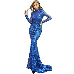Blue O-Neck Long Sleeve Retro Sequin Maxi Gorgeous Dress