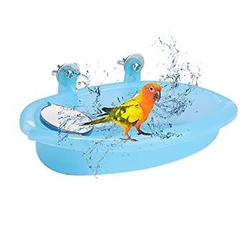Bain D'Oiseau Mignon Animal Perroquet Baignoire Boîte de Bain D'Oiseau Avec Miroir Perroquet Cage Accessoire Pour Perroquet Perruche Calopsitte Canari Perruche Perruche Tourtereau Oiseaux Bleus