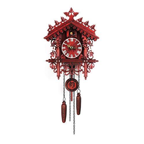 N/A Reloj de pared de cuco hecho a mano, de madera, diseño de casa de árbol, para decoración del hogar