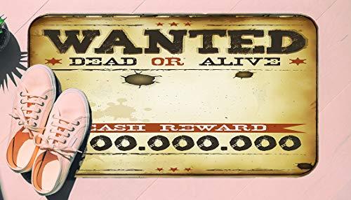 DIIRCYB Felpudo Lavable Antideslizante Interior Exterior de la Estera de la Puerta,Old Wanted Placard Print Dead Or Alive Bounty Hunter Cash Reward,Alfombra de Cultivo de Bricolaje, para la Alfombra