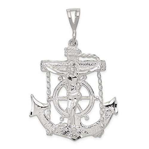 925 Sterling Silver Nautical Anchor Ship Wheel Mariners Cross Religious Pendant Charm Necklace Mariner Crucifix Fine Jewelry For Women Gifts For Her