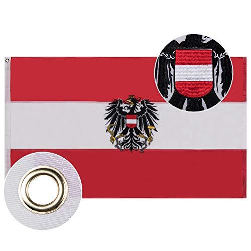 Lixure Österreich mit Adler Flagge/Fahne 90x150cm Top Qualität Europa Länder Nationalflaggen-Durable 210D Nylon Draußen/Drinnen Dekoration Flagge MEHRWEG