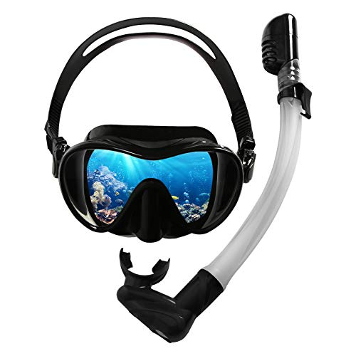 HshDUti Faltbare Schnorchelset für Erwachsene mit Taucherbrille und Dry schnorchel, Panoramablick Brille mit Antibeschlag, Geschenk für Schnorcheln Enthusiasten Schwarz