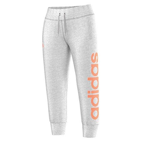 adidas Damen Sporthose Essentials Linear 3/4 Pants, Light Grey Heather/Flash Orange S15, S, S20889