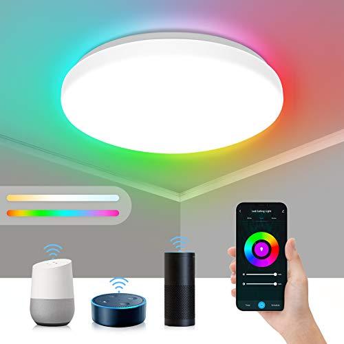 Maxsure Alexa Smart Deckenlampe, 24W 2400Lm WiFi Led Deckenleuchte Dimmbar Farbwechsel, App Steuerbar, Kompatibel mit Alexa & Google Home, IP54 Deckenlampe Wohnzimmer Schlafzimmer Badezimmer, Φ35cm