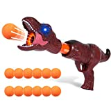 Boby Air Powered Shooter Power Popper Gun with Lighting and Roaring Fire Blaster for Kids Role Playing Great Toy Indoor or Outdoor Play 4+ Boys Girls Dinosaur(Brown)
