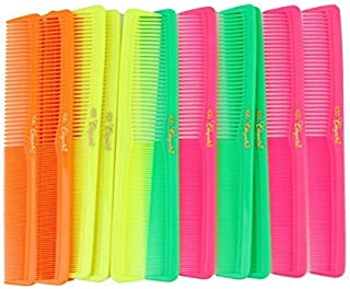 7 inch All Purpose Hair Comb. Hair Cutting Combs. Barber's & Hairstylist Combs. Neon Mix. 12 Units.