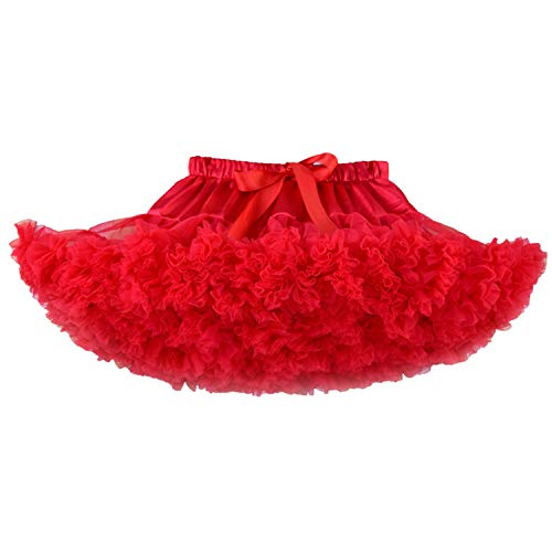 Adorel Falda Tutú Tul de Enagua Plisada Ballet para Niñas Rojo 5-7 Años (Tamaño del Fabricante M)