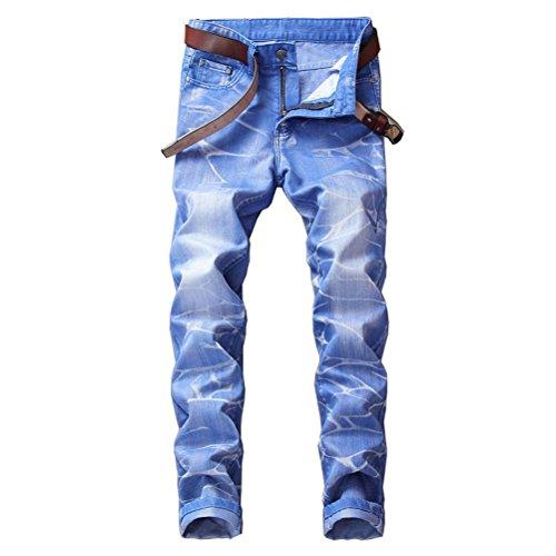OULII Mens Slim Straight Jeans Crosshatch Denim Pantalon Taille 29 (Sky Bule)
