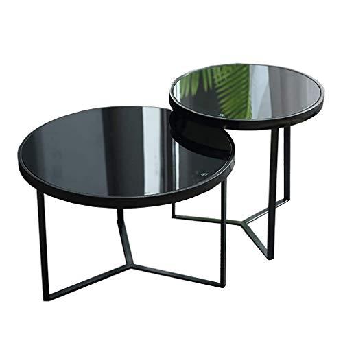 CX Conjunto de 2 Mesa de Café, Mesa Redonda de Sofá, (Vidrio Templado + Patas de Metal) Mesa de Anidación, para Sala de Estar, Balcón, Decoración Del Dormitorio Mesa del centro de mesa del extrem