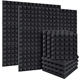 DEKIRU 24 Pack Acoustic Foam Pyramid Sound Proof Foam Panels Sound Proofing Padding for Wall, 2' X 12' X 12' Fireproof Sound Absorbing Wedge Tiles, Acoustic Treatment for Home Office Studio with Tape