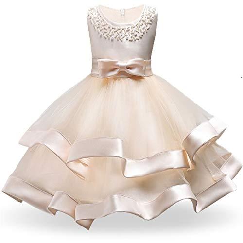 kengbi Komfortables und exquisites Kleid Kinder Elegante Perlenkuchen Prinzessin Kleid Mädchen Kleider for Hochzeit Abend Party Stickerei Blume Mädchen Kleid Mädchen Kleidung