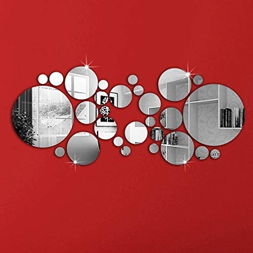 BelongsU 30 Pegatinas Redondas para Pared con Espejo, extraíbles, Circulares, para decoración del Dormitorio, de la Sala de Estar del hogar