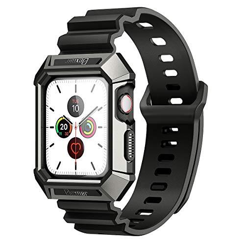 Dexnor Custodia per Apple Watch Series 5 / Series 4 44 mm con Cinturino Antiurto Protettiva Robusta Sport all'aperto Cover per iWatch Serie 4 2018 / Serie 5 2019 - Nero