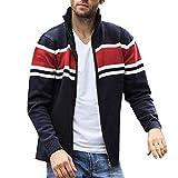 SANFASHION 2019 Manteau Chandail Hommes,Blouson Pull Tricotés,Cardigan Zipper Mode Grande Taille,Pullover Col Roule Sweater Jacket Couture Rayures Vintage Vest Coat Laine Casual