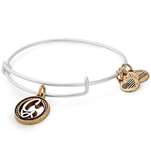 Alex and Ani Women's Initial G II Bangle Two Tone Bracelet, Rafaelian Silver, Expandable