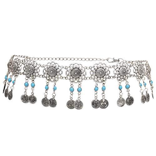 idealway Vintage Waist Chain Hollow Carving Rhinestone Crystal Body Chain Summer Beach Body Waist Chain Jewelry (Flower A)