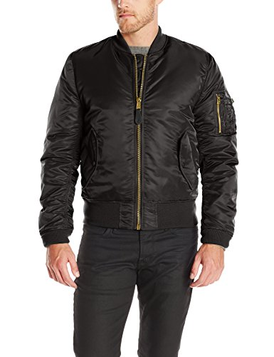 Alpha Industries Men's Slim-European Fit MA-1 Flight Jacket (L, Black)