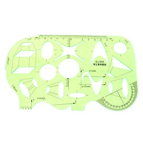 Plástico Estudiantes Matemáticas Dibujo Transportador De Ángulos Regla Plantilla Verde Transparente